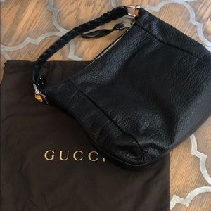 Gucci Leather Braided Handle Bamboo Hobo bag